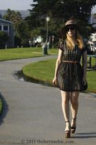 skater Forever 21 dress - scalloped American Rag hat - Steve Madden heels