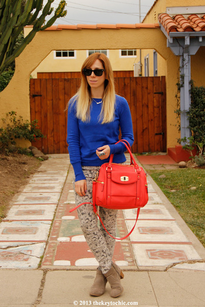Mossimo boots - floral J Brand jeans - merona bag