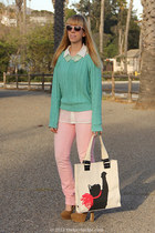 mint Forever 21 sweater - pink Uniqlo jeans - cat tote Jason Wu for Target bag