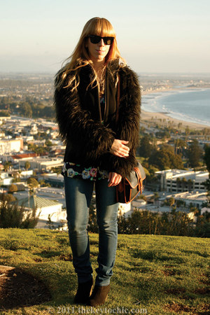 Zara coat - Cheap Monday jeans - vintage escada blouse