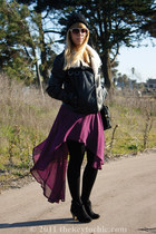 high-low foreign exchange skirt - ankle Mossimo boots - aviator H&M jacket