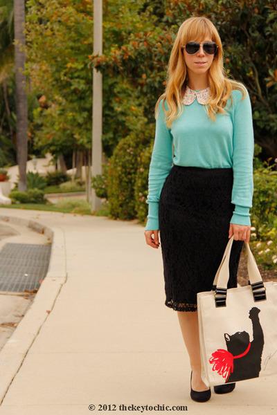 Mossimo skirt - mint xhilaration sweater - cat Jason Wu for Target bag