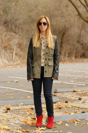 Lush jacket - Aldo boots - rag & bone jeans - Equipment blouse