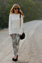 baroque print Hot Kiss jeans - Forever 21 sweater - studded Bakers bag