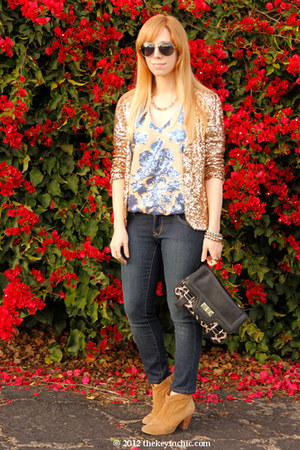 sequin tracy reese top - skinny Old Navy jeans - gold sequin INC jacket
