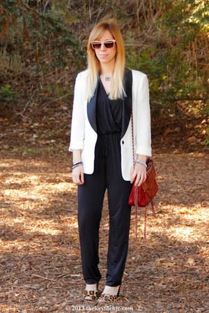 Rebecca Minkoff bag - studded leopard Zara heels - Kardashian Kollection romper