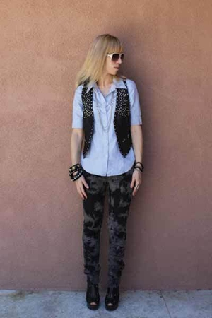 forever 21 jeans - alice  olivia for Payless boots - Forever 21 vest