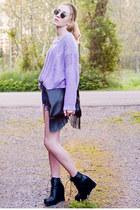 lavender Sheinside sweater - fringed my own design finepouline bag