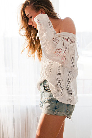 studded diy Levis shorts - secondhand unknown jumper