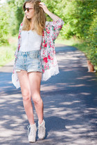 floral kimono made by me cardigan - studded DIY shorts - white unknown top