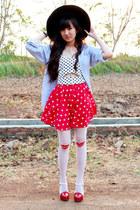 ivory bralet top - black floppy hat - periwinkle shirt - red star printed skirt