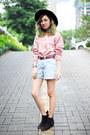 Black-h-m-boots-black-wide-brim-forever-21-hat-pink-floral-knit-sweater