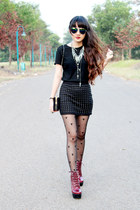 black beaded Zara skirt - brick red tardy Jeffrey Campbell boots