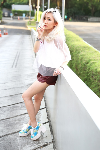 crimson faux leather shorts - white mesh Apparel After Dark top