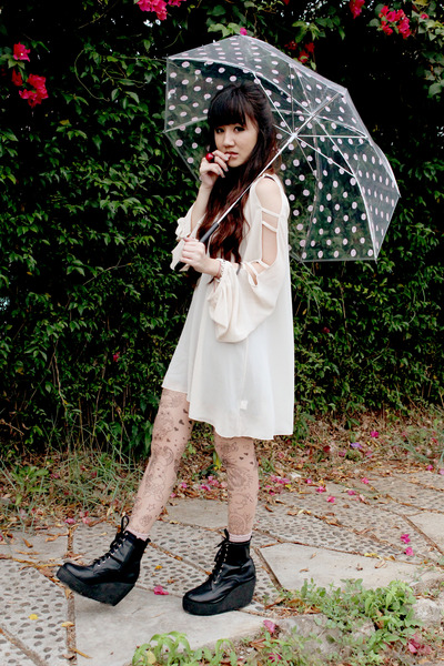 umbrella accessories - boots - His Daughter dress - asos tights