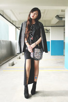 black Decimal Shoes boots - black bag - brick red H&M belt