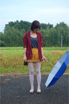 ruby red blazer - orange Topshop shorts - navy polkadots pull&bear top