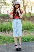 heather gray parka-cap Cool Caps hat - red Yuan blouse