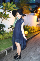 black cut out Topshop boots - navy bretzel dress - black wide brim H&M hat