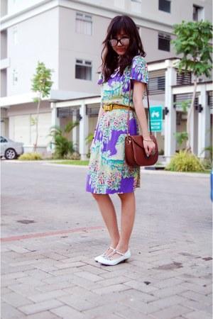 ivory shoes - light purple grandmas dress - tawny vintage Mitchybelle bag - ligh