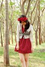 Ruby-red-roses-dress-cream-promod-cardigan-ruby-red-diy-headband-accessories