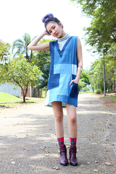 gold new look bracelet - brick red cut out boots - blue chambray Zalora dress