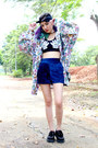 Black-creepers-new-look-shoes-light-purple-vintage-shirt-blue-velvet-shorts
