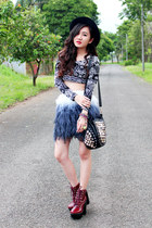 navy ombre feather Zara skirt - brick red tardy Jeffrey Campbell boots