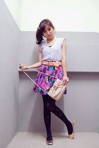 white Forever 21 accessories - purple Gaudi top - pink Dorothy Perkins bag - pur