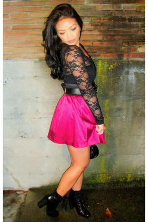 pink Forever 21 skirt - black Nine West boots - black vintage purse
