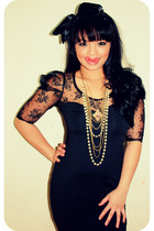 black Forever 21 dress - black Forever 21 accessories - gold Forever 21 necklace
