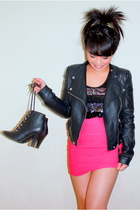 black free people jacket - black Urban Outfitters boots - pink H&M skirt