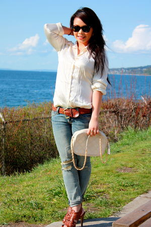 white H&M shirt - beige vintage purse - brown vintage belt - brown Steve Madden