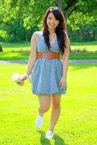 blue dress - white shoes