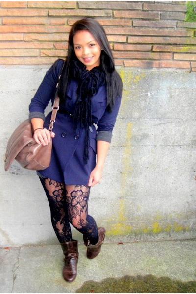 blue Forever21 blazer - black Forever21 scarf - beige Charles David purse - brow