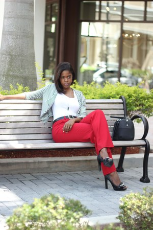 red Worthington pants - black Nine West heels
