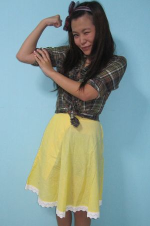 green Zara shirt - yellow thrifted skirt - red cotton on scarf