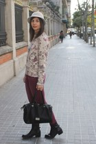 Zara jumper - Bosanova boots - H&M hat - Stradivarius bag