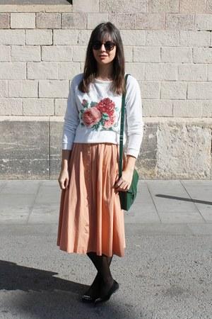 vintage skirt - Misako bag - asos sunglasses - pull&bear sweatshirt - Zara flats