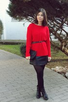 vintage jumper - Mustang boots - Bershka dress - Stradivarius bag - Primark belt