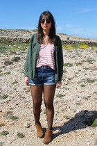 green coast top - Primark boots - Zara shirt - Zara shorts - asos sunglasses