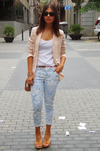 River Island pants - vintage blazer - Topshop bag - Ray Ban sunglasses