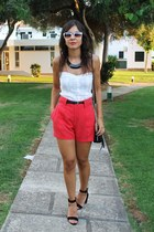 Zara shorts - firmoo sunglasses - Stradivarius necklace - Zara sandals