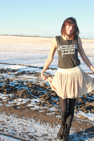free people t-shirt - madewell boots - Designers Remix Collection skirt