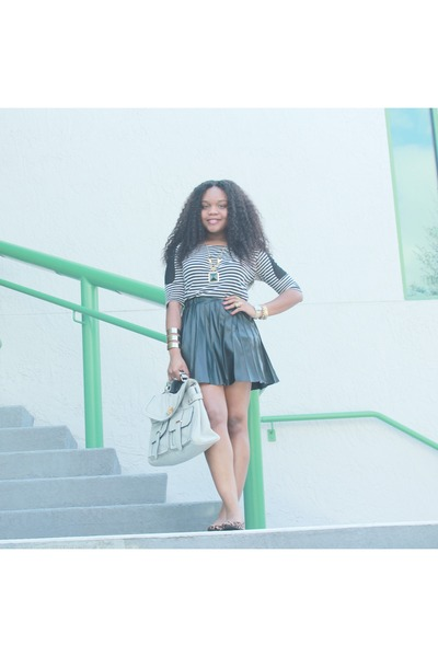 black vera wang skirt - navy striped shirt Urban Outfitters top