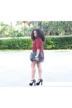 magenta printed skater BeBop dress - crimson Vinatge Dorothy Perkins blazer