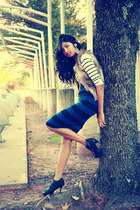 skirt - simply vera wang boots - sweater - vest