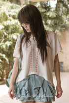 light blue bow romwe shorts - white boho no brand shirt