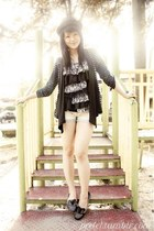 navy striped Folded and Hung cardigan - black Rockport shoes