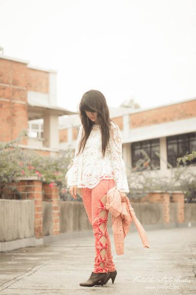 white lace romwe blouse - dark brown Payless boots - salmon cutout romwe jeans